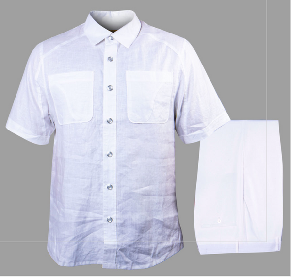 Prestige White Linen Shirt + Pants Set - Dudes Boutique