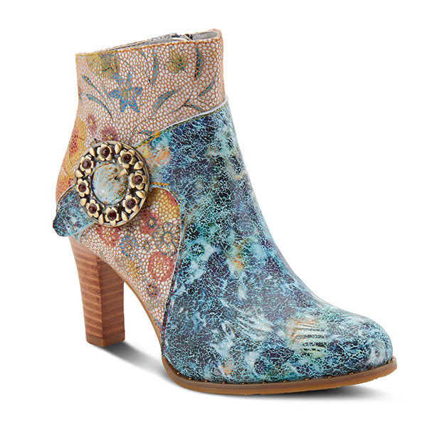 L'ARTISTE Blue Multi Leather  Floral Buckle Strap Ankle Boots - Dudes Boutique