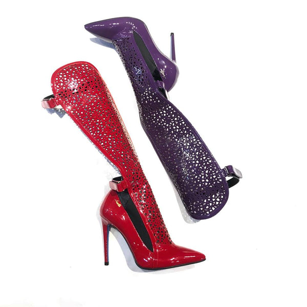 Loriblu Lace Italian Patent Leather Knee High Heels - Dudes Boutique