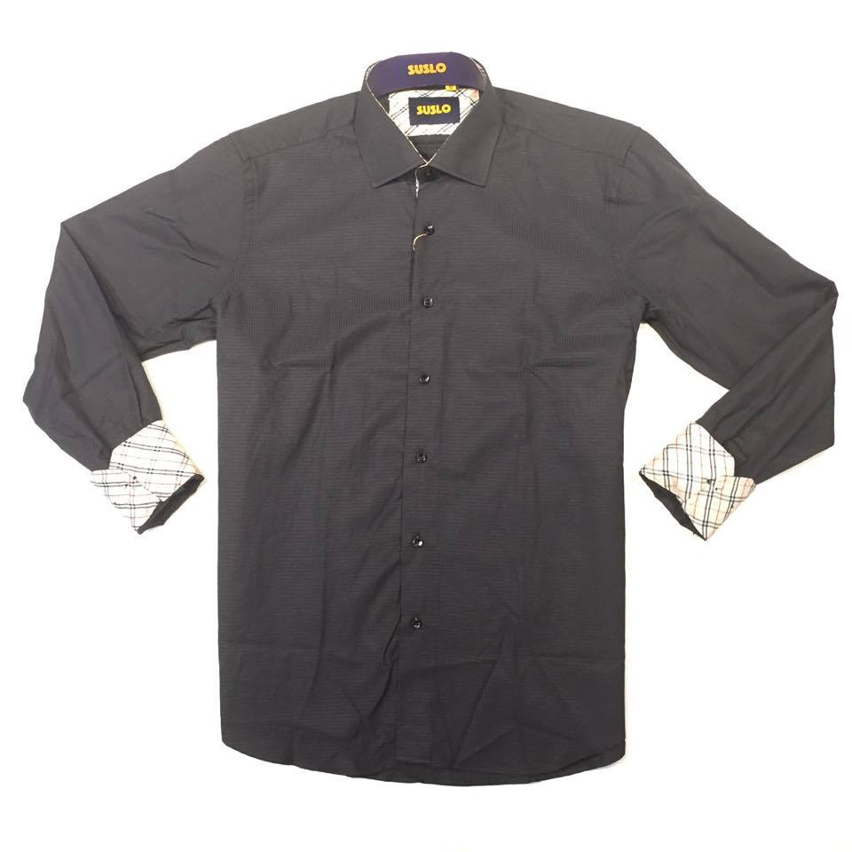 Suslo Couture Men's Black Plaid Button-Up Shirt