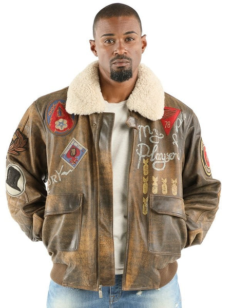 Pelle Pelle Make it Rain Bomber - Brown
