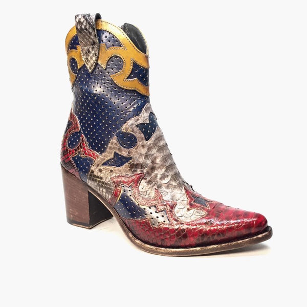 Jo Ghost Italian Multicolored Python Perforated Python Cowgirl Boot - Dudes Boutique