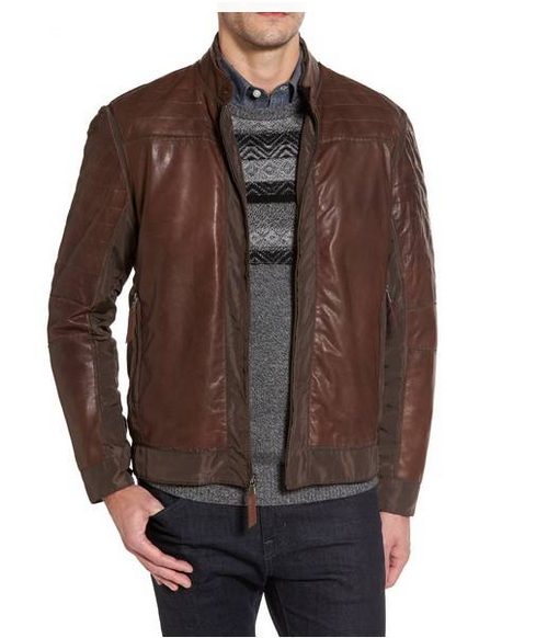 Missani Men's Brown Lambskin Leather Active Jacket
