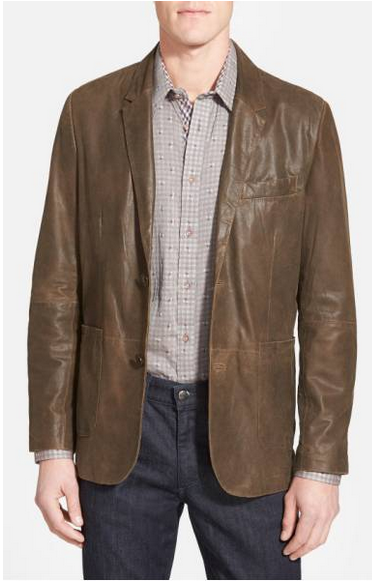 Missani Men's Chocolate Lambskin Leather Blazer