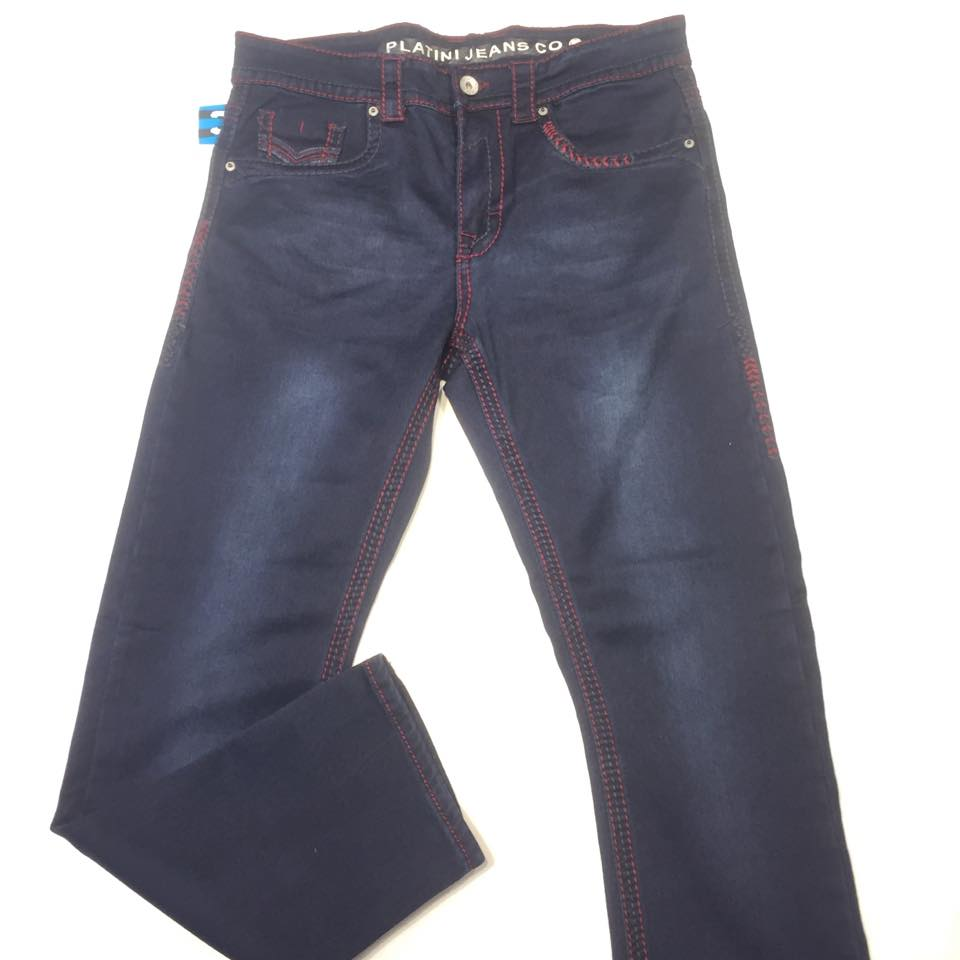 Platini Men's Dark Wash Blue/Red Stitch Denim - Dudes Boutique