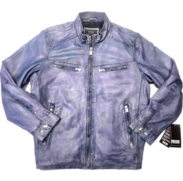 Missani Lambskin Leather Washed Denim Zip-up Jacket