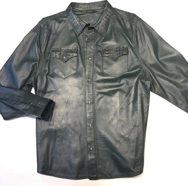 G-Gator Forest Green Gator/Lambskin Button-Up Shirt
