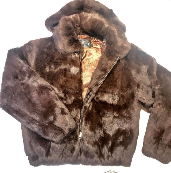 Winter Fur Women's Brown Rabbit Fur Jacket