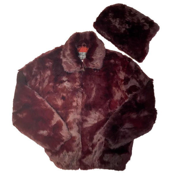Winter Fur Wine Rabbit Bomber Fur Coat