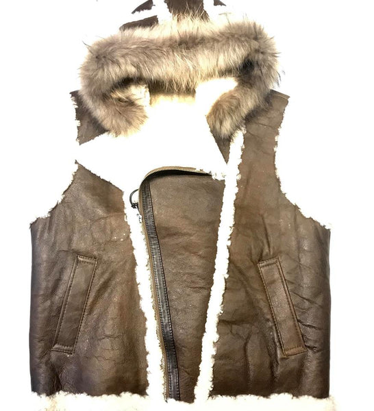 Jakewood Brown Shearling Fox Collar Vest - Dudes Boutique