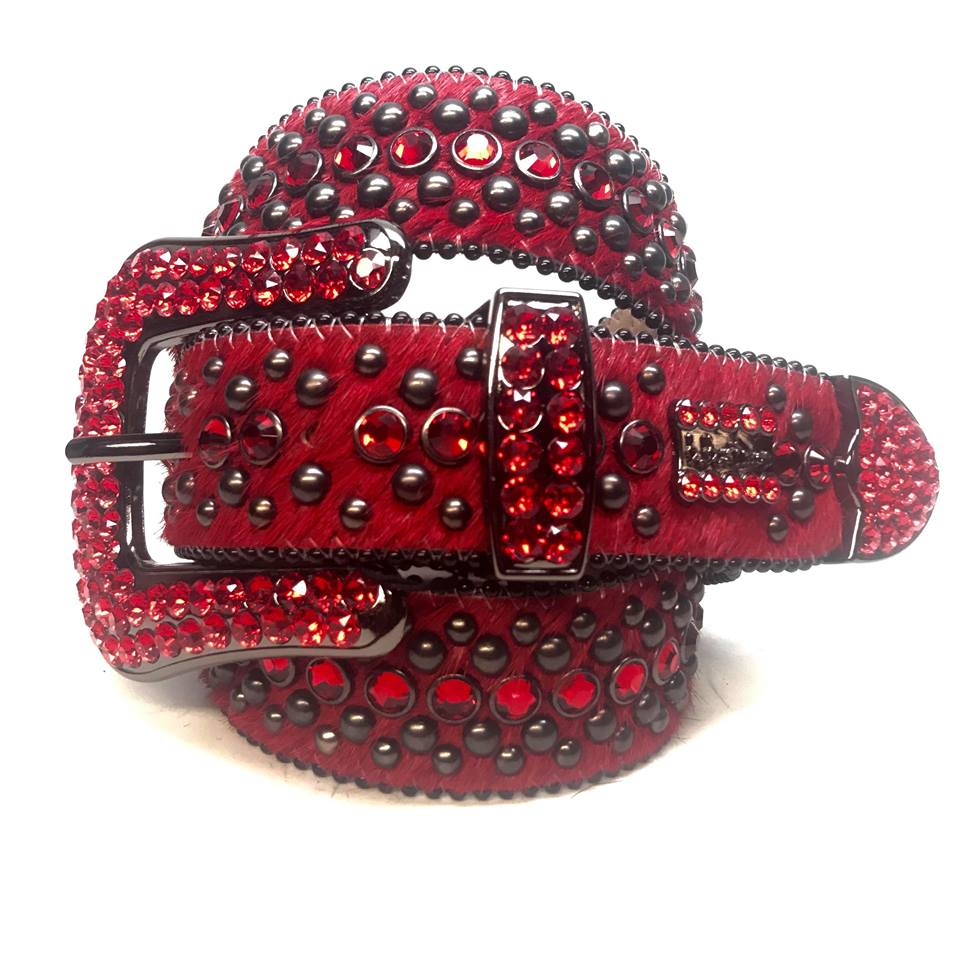 B.B. Simon Fully Loaded 'Blood Red' Pony Swarovski Crystal Belt - Dudes Boutique
