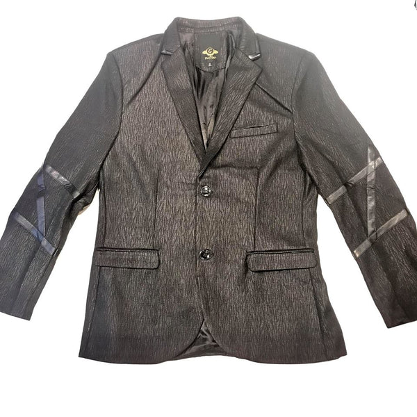 Platini Black PU Leather Moto Blazer