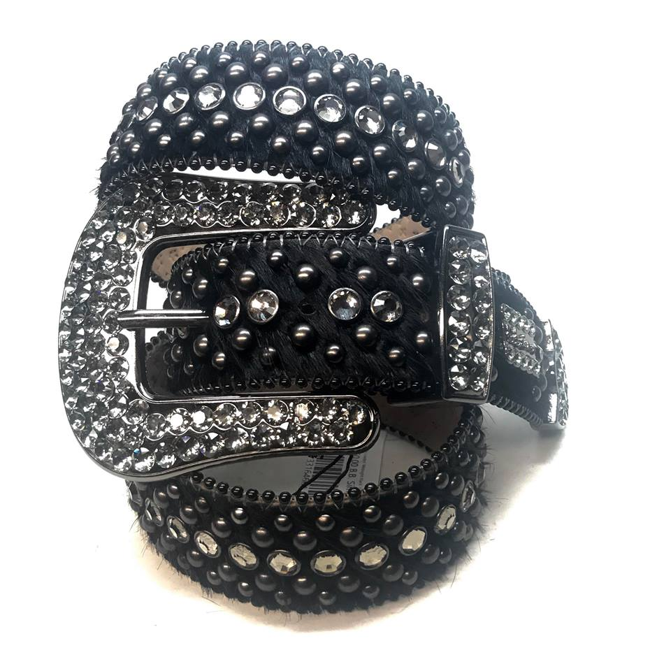 B.B. Simon Fully Loaded 'Midnight Black' Pony Swarovski Crystal Belt - Dudes Boutique