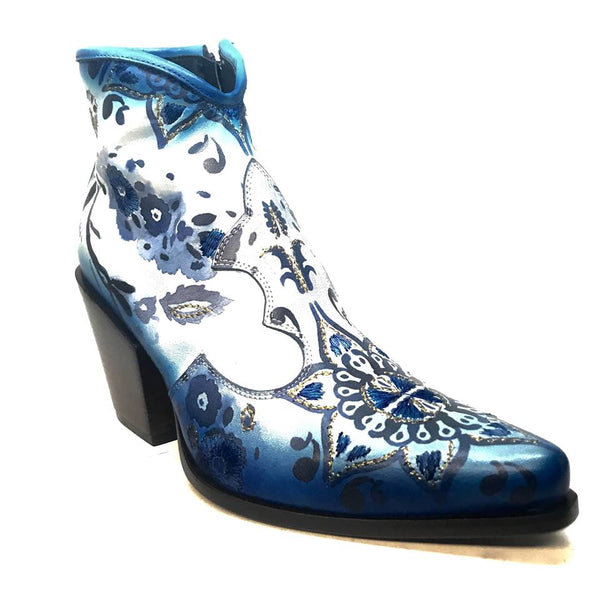 Jo Ghost Artisan Blue Stitched Ankle Boots