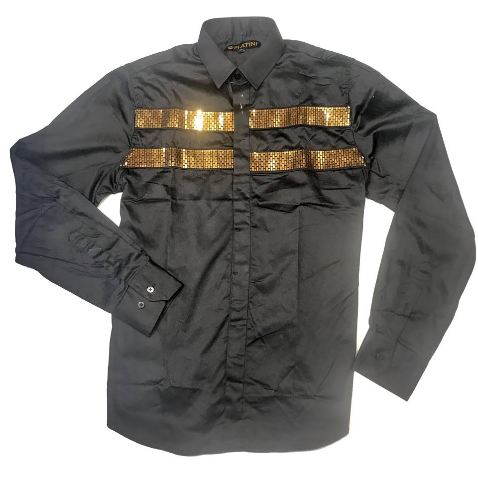 Platini Gold Plate Black Button Up Shirt - Dudes Boutique