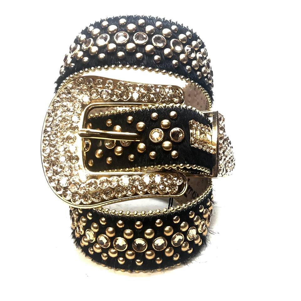 B.B. Simon Black & Gold Pony Hair Fully Loaded Belt - Dudes Boutique