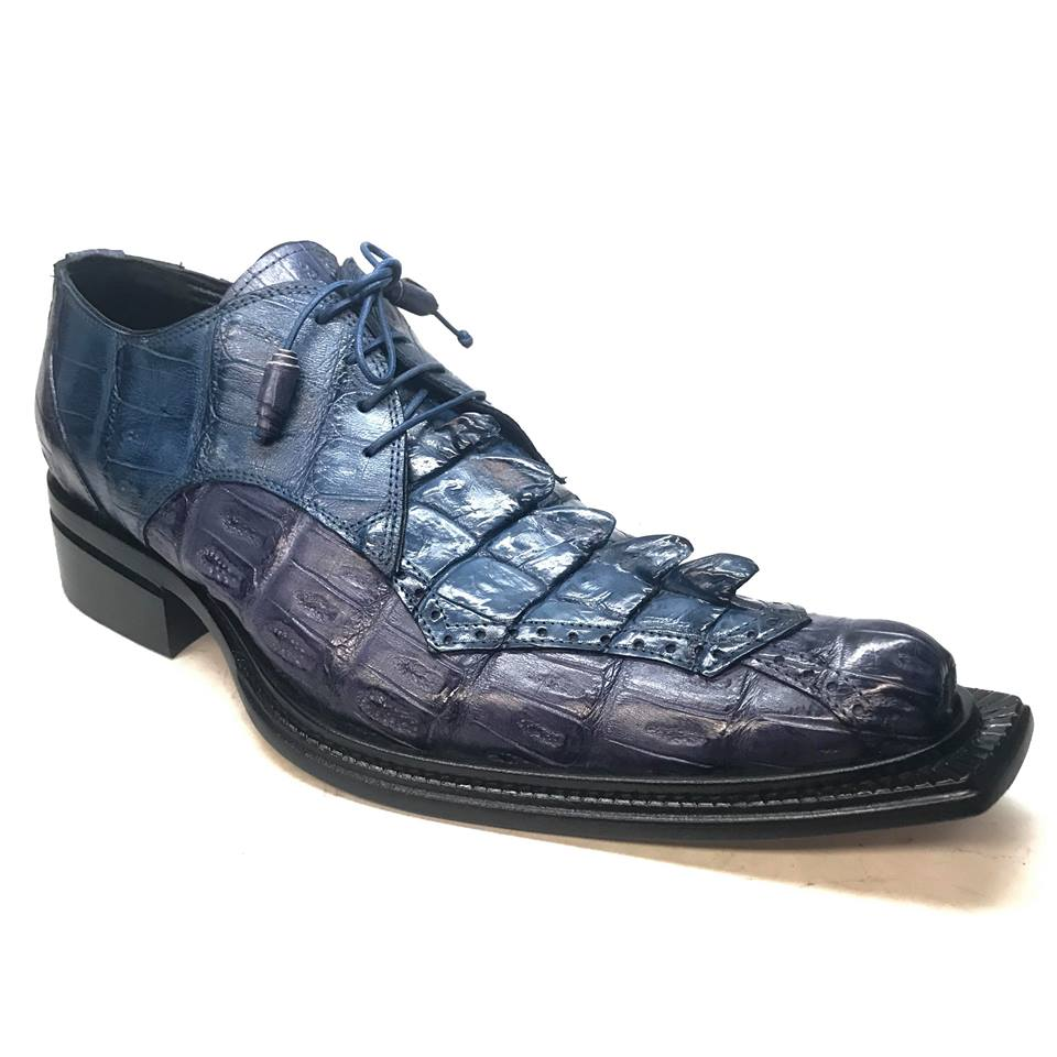 Mauri 44209 Crocodile Hornback Blue Dress Shoe