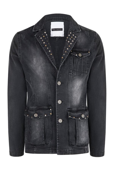 RNT23 BLACK ARTIST STUDDED DENIM JACKET