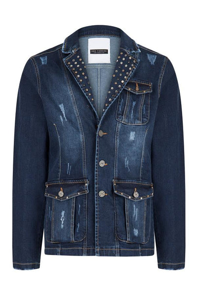 RNT23 NAVY ARTIST STUDDED DENIM JACKET - Dudes Boutique