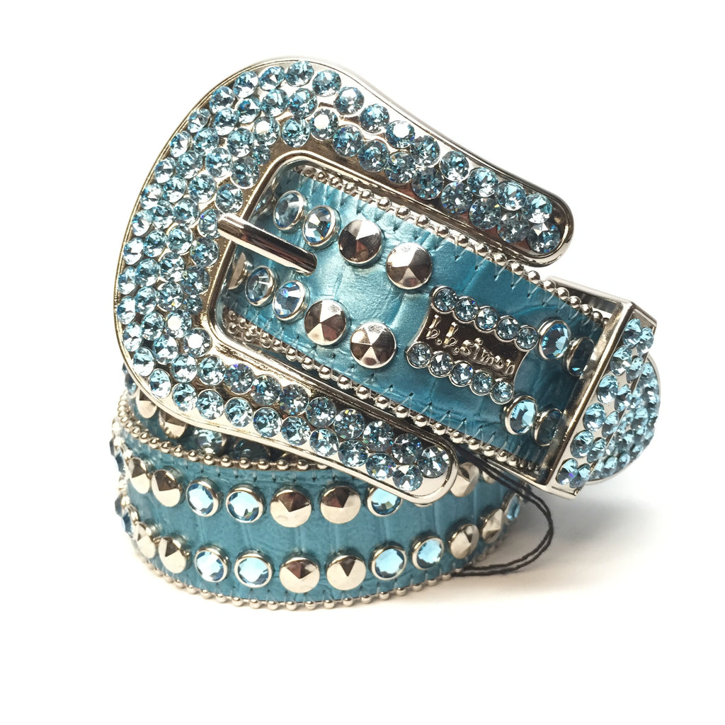 B.B. Simon 2182A86 'Sky Blue' Swarovski Crystal Belt - Dudes Boutique