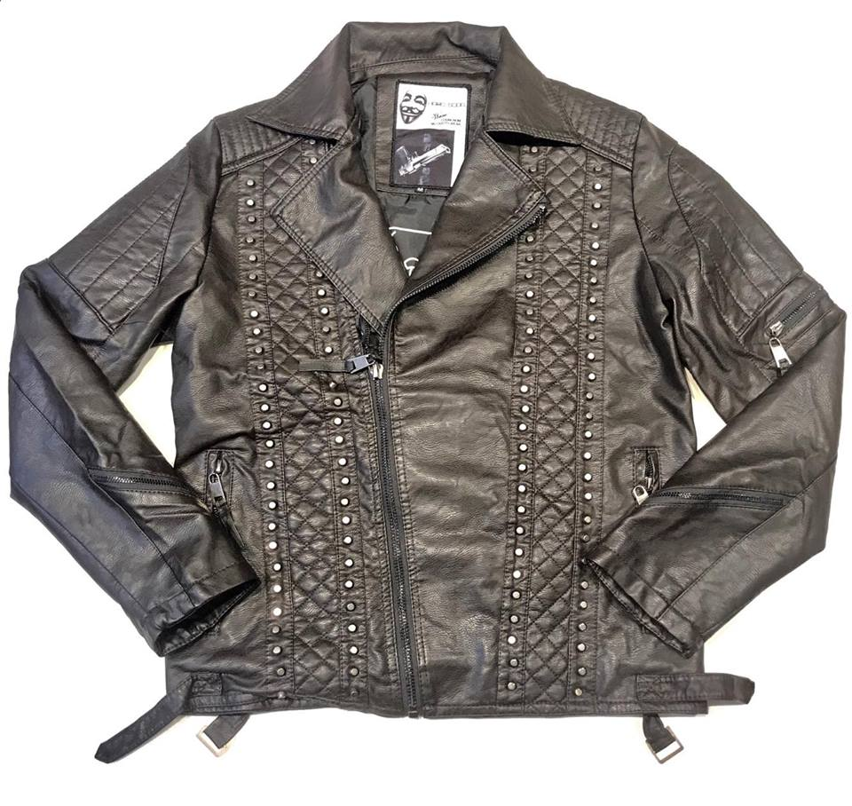 Hard Soda Men's Brown Studded Biker Jacket