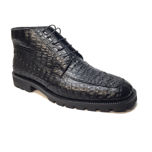 Los Altos Black Hornback Crocodile Ankle Boots