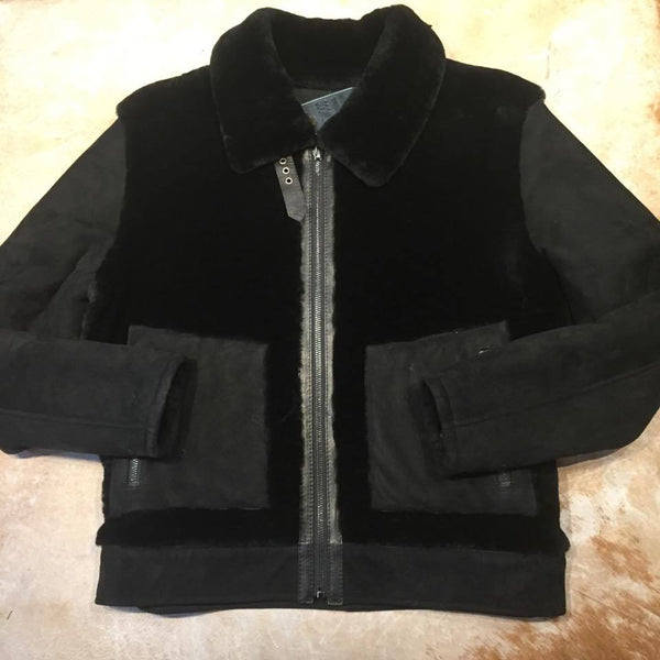 Jakewood Mouton Jet Black Shearling Jacket - Dudes Boutique