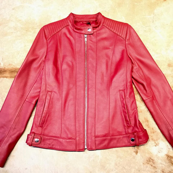 Mason & Cooper Candy Red Lambskin Mandarin Jacket - Dudes Boutique