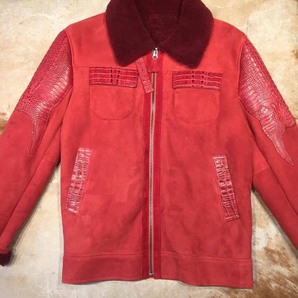 Candy Red Full Suede/Adult Alligator Shearling - Dudes Boutique