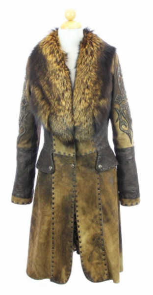 Hoss Couture Women's Natural Suede Fox Fur Swarovski Crystal Trench Coat