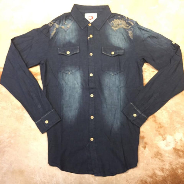 T.R Premium Men`s Denim Button Up Shirt
