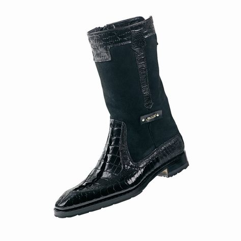 "Mauri ""Masculine"" 2842 Black Alligator/Ostrich Leg Dress Boots"