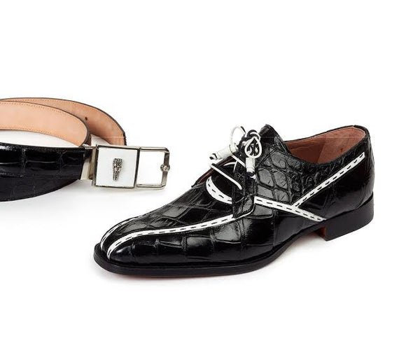 Mauri - 4708 Black/White Domino Body Alligator Loafers - Dudes Boutique