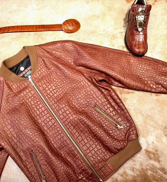 Jakewood Cognac Embossed Alligator Bomber Jacket