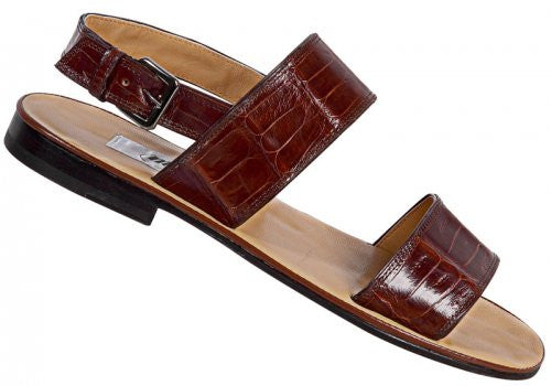 Mauri - '1496' Brown Crocodile Sandal - Dudes Boutique