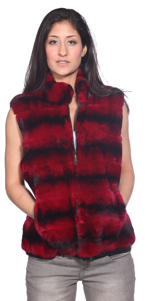 Wilda Leather Lexington Red Rex Rabbit Fur Vest