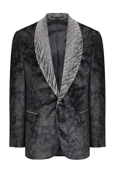 RNT23 BLACK 4 GLITTER SHAWL LAPEL COTTON VELVET TUXEDO JACKET - Dudes Boutique