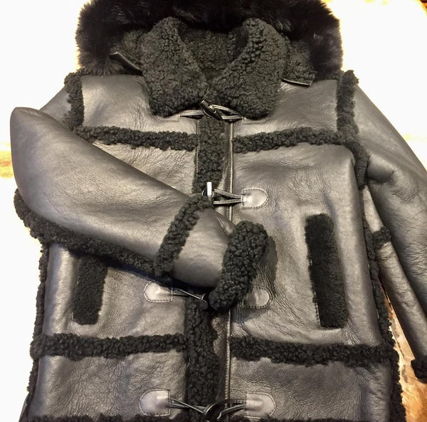 Black Hooded Shearling Jacket - Dudes Boutique