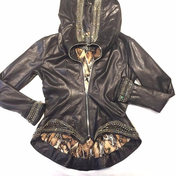 Hoss Couture Women's Swarovski Lambskin Studded Moto Jacket - Dudes Boutique