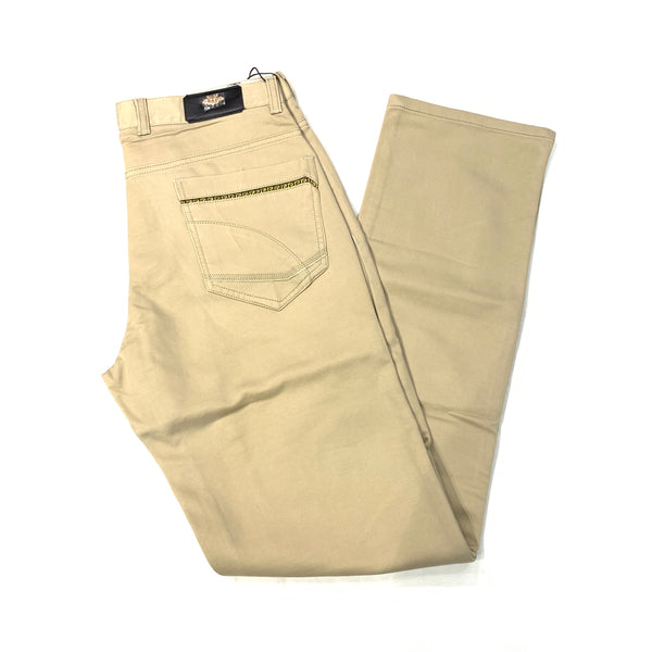 Platini Beige Greek Key Denim Slacks