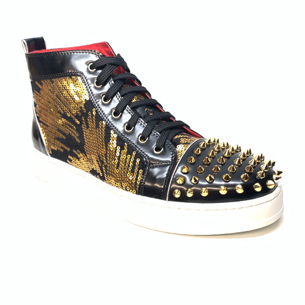 Fiesso Black Gold Sequin Spiked High-top Sneakers - Dudes Boutique