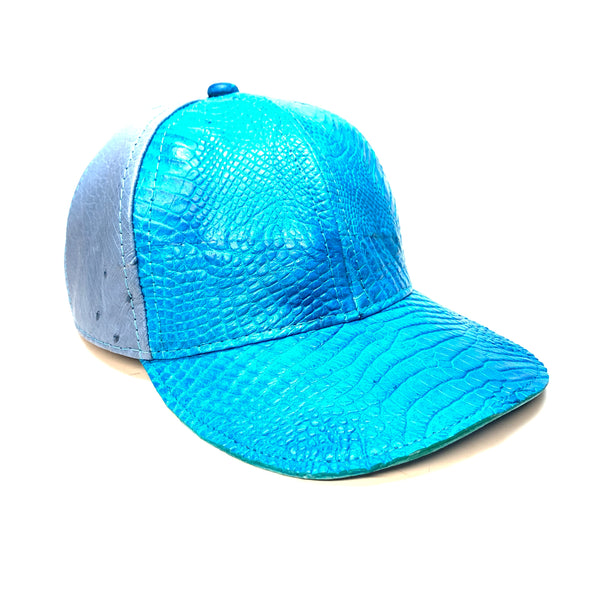 Kashani Carolina Blue Alligator & Ostrich Quill StrapBack Hat