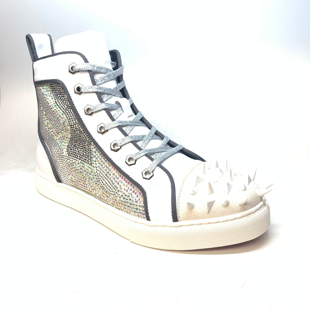 Fiesso White Mixed Crystal Hightop Spike Sneakers - Dudes Boutique