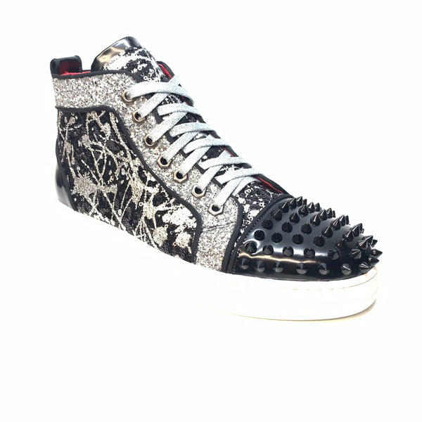 Fiesso Black Silver Sequin Spiked High-top Sneakers - Dudes Boutique