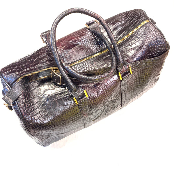 Kashani Black Cherry Full Alligator Body Duffle Bag - Dudes Boutique
