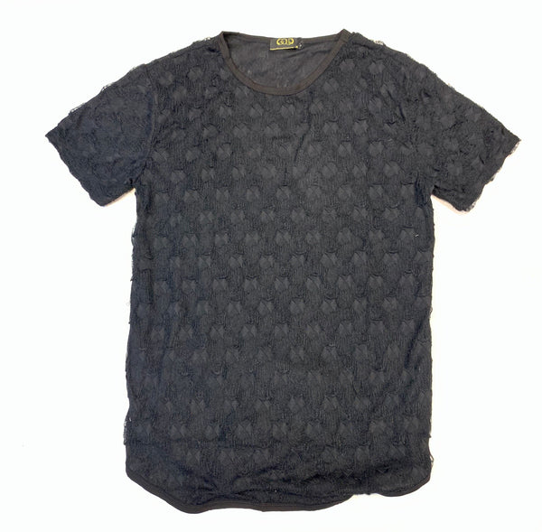 Gold Leaf Black Shredded Short Sleeve Shirt - Dudes Boutique