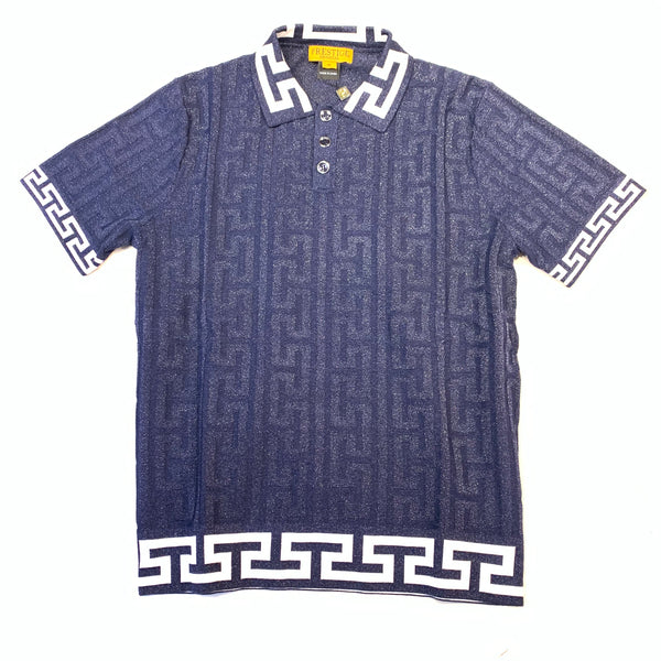 Prestige Navy Shine Greek Key Polo Shirt