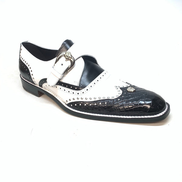 Mauri 3051 Black White Alligator Studded Monk Strap Dress Shoes - Dudes Boutique