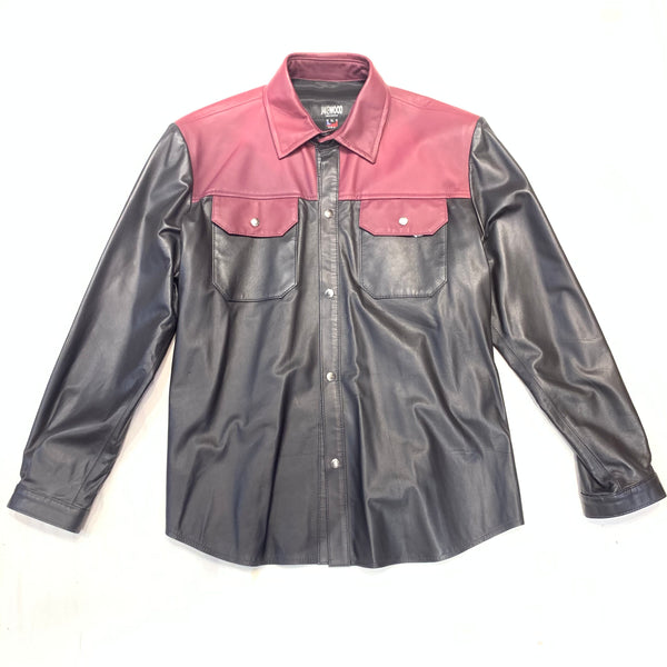 Kashani Men's Black/Wine LambSkin Shirt - Dudes Boutique