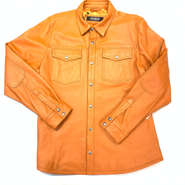 Kashani Men's Tangerine Lambskin Button-Up Shirt - Dudes Boutique